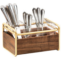 Cal-Mil 3700-46 Mid-Century 3 Compartment Wood Flatware Organizer with Brass Accents - 9 1/2 inch x 6 1/2 inch x 5 1/2 inch