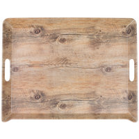 Cal-Mil 3563-47M Hickory Melamine Room Service Tray - 20 inch x 15 1/2 inch x 2 inch