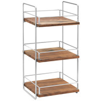 Cal-Mil 3704-3-49 Mid-Century Wood and Chrome Three Tier Merchandiser - 13 inch x 12 inch x 26 inch