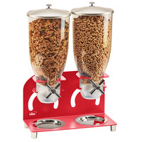 Cal-Mil 3510-2-14 7 Liter Red Double Canister Cereal Dispenser - 12 1/4 inch x 6 inch x 18 1/2 inch