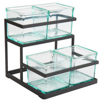 Cal-Mil 3604-13 2-Step Black Condiment Display with 4 Glass Jars - 11 inch x 10 1/4 inch x 11 1/2 inch