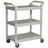 Rubbermaid FG342488PLAT  Gray Three Shelf Utility Cart / Bus Cart 33 x 18 x 37 (FG342488)