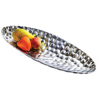 Cal-Mil 3632-2610-82 Pewter Accent Oval Platter - 26 inch x 10 inch x 2 1/4 inch