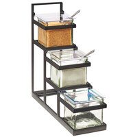 Cal-Mil 3605-13 3-Step Black Condiment Display with 3 Glass Jars - 14 3/4 inch x 4 1/2 inch x 13 1/2 inch