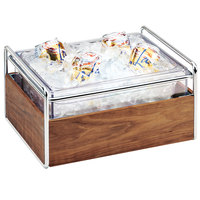 Cal-Mil 3702-10-49 Mid-Century Chrome Metal and Wood Ice Housing with Clear Plastic Pan - 11 inch x 14 inch x 7 inch