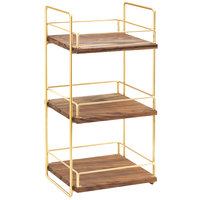 Cal-Mil 3704-3-46 Mid-Century Wood and Brass Three Tier Merchandiser - 13 inch x 12 inch x 26 inch