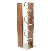 Cal-Mil 3715-46 Mid-Century 3 Compartment Vertical Wooden Organizer with Brass Accents - 6 1/2 inch x 6 1/2 inch x 19 1/2 inch