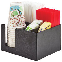 Cal-Mil 3566-13 5 Compartment Black Plastic Compact Condiment Organizer - 9 3/4 inch x 8 1/4 inch x 5 inch