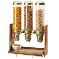 Cal-Mil 3720-46 Mid-Century 4.5 Liter Walnut and Brass Triple Canister Cereal Dispenser - 19 1/2 inch x 12 inch x 28 1/2 inch