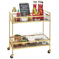 Cal-Mil 3719-46 Mid-Century Brass Beverage Cart with 2 Walnut Shelves - 27 inch x 16 inch x 36 inch