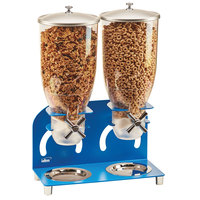 Cal-Mil 3510-2-41 7 Liter Blue Double Canister Cereal Dispenser - 12 1/4 inch x 6 inch x 18 1/2 inch