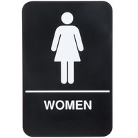 ADA Women's Restroom Sign with Braille - Black and White, 9 inch x 6 inch
