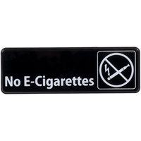 No E-Cigarettes Sign - Black and White, 9 inch x 3 inch