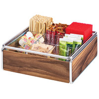 Cal-Mil 3707-49 Mid-Century 9 Compartment Wood Condiment Organizer with Chrome Accents - 12 inch x 12 inch x 4 1/2 inch