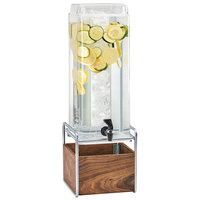 Cal-Mil 3703-3INF-49 Mid-Century 3 Gallon Square Beverage Dispenser with Walnut and Chrome Base and Infusion Chamber