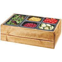 Cal-Mil 3585-99 Madera Reclaimed Wood Salad Station with Clear Ice Liner and 5 Black Pans - 22 inch x 14 inch x 7 inch