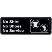 "No Shirt, No Shoes, No Service Sign - Black and White, 9"" x 3"""