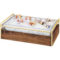 Cal-Mil 3702-12-46 Mid-Century Brass Metal and Wood Ice Housing with Clear Plastic Pan - 14 inch x 22 inch x 7 inch