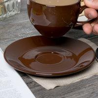 Tuxton DME-0631 6 3/8 inch Mahogany Cappuccino China Saucer - 24/Case