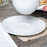 Tuxton BPE-0631 DuraTux 6 3/8 inch Bright White Cappuccino China Saucer - 24/Case