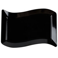 Fineline Wavetrends 1407-BK 12 inch x 7 1/2 inch Black Plastic Luncheon Plate - 10/Pack
