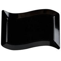 Fineline Wavetrends 1407-BK 12 inch x 7 1/2 inch Black Plastic Luncheon Plate - 10/Pack
