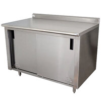 Advance Tabco CF-SS-364 36 inch x 48 inch 14 Gauge Work Table with Cabinet Base and 1 1/2 inch Backsplash