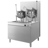 Cleveland 42-GM-K612-200 Natural Gas 6 and 12 Gallon Tilting 2/3 Steam Jacketed Gas Kettles with Modular Generator Base - 200,000 BTU
