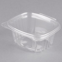 Genpak AD06 4 1/4 inch x 3 5/8 inch x 1 7/8 inch 6 oz. Clear Hinged Deli Container - 400/Case