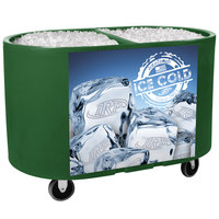 IRP Green Texas Tanker 1060 Portable Insulated Ice Bin / Beverage Cooler / Merchandiser with Two Compartments 256 Qt.