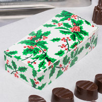 4 1/2 inch x 2 5/16 inch x 1 1/8 inch 1-Piece 1/4 lb. Holly / Holiday Candy Box   - 250/Case