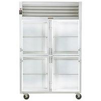 Traulsen G21001 2 Section Glass Half Door Reach In Refrigerator - Right / Left Hinged Doors
