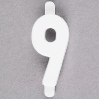 3/4 inch White Molded Plastic Number 9 Deli Tag Insert - 50/Set
