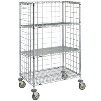 Metro Super Erecta AST35DC Chrome Wire Slanted Shelf Cart 24 inch x 36 inch x 59 inch
