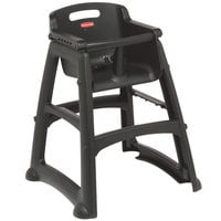 Rubbermaid FG780608BLA Black Restaurant High Chair without Wheels - Assembled