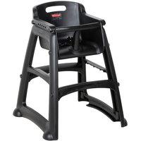 Rubbermaid FG780608BLA Black Restaurant High Chair without Wheels - Assembled
