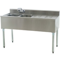 Eagle Group B4R-2-18 Compartment Underbar Sink with 24 inch Right Drainboard and Splash Mount Faucet - 48 inch