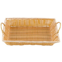 Choice 16 inch x 11 inch x 3 inch Oblong Woven Basket with Handles