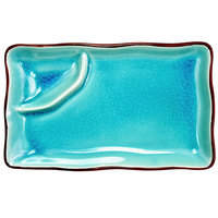 CAC 666-77-BLU Japanese Style 8 inch x 4 inch Divided China Plate - Black Non-Glare Glaze / Lake Water Blue - 24/Case