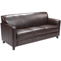 Flash Furniture BT-827-3-BN-GG Hercules Diplomat Brown Leather Sofa with Wooden Feet