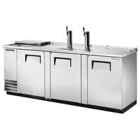True TDD-4CT-S 90 inch Stainless Steel Four Keg Club Top Kegerator Beer Dispenser with Two Taps