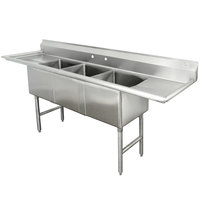 Advance Tabco FC-3-1818-24RL Three Compartment Stainless Steel Commercial Sink with Two Drainboards - 102 inch