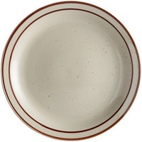 Choice 6 1/2 inch Brown Speckle Narrow Rim Stoneware Plate - 36/Case