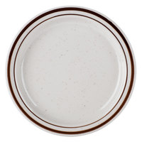 6 1/2 inch Brown Speckle Narrow Rim China Plate - 36/Case