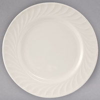 Tuxton MEA-094 Meridian 9 1/2 inch Eggshell Embossed Swirl Rim China Plate - 24/Case