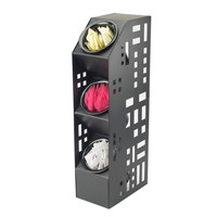 Cal-Mil 1605-13 Squared Black Three Tier Steel Cylinder Display - 5 inch x 8 inch x 20 1/2 inch
