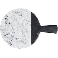 Elite Global Solutions M12RWSM Horizon Slate 12 inch Faux Slate and Marble Round Serving Board with Handle
