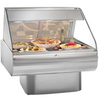 Alto-Shaam PD2SYS-48 SS Stainless Steel Heated Display Case with Curved Glass and Pedestal Base - Full Service 48 inch