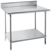 "Advance Tabco SKG-243 24"" x 36"" 16 Gauge Super Saver Stainless Steel Commercial Work Table with Undershelf and 5"" Backsplash"