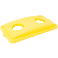 Continental 7316YW Wall Hugger Yellow Recycle Lid with Holes